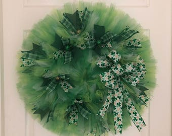 St.Patrick's day wreath, St.Patrick's day tulle wreath