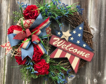Memorial Day Wreath,4th of July Wreath,Patriotic wreath,Veterans Day wreath,Grapevine Wreath,Summer Farmhouse wreath,Front door wreath