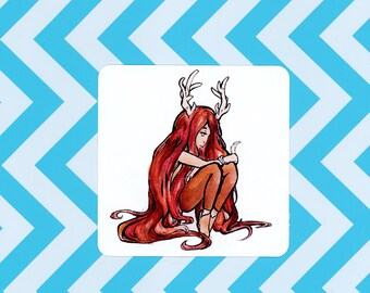 Deer Girl Sticker