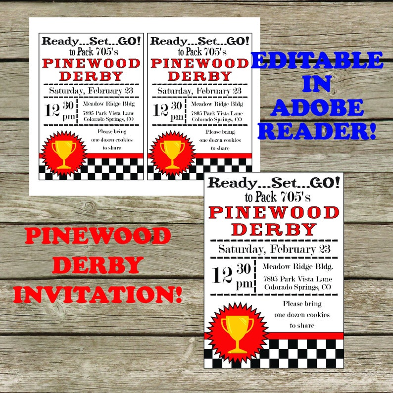 Pinewood Derby Invitation Digital Download Editable 5x7 Etsy