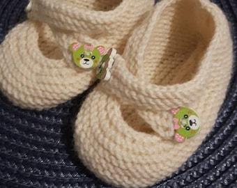 Handmade baby girl booties