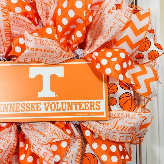 Tennessee Vols Door Hanger with Deco Mesh and Ribbon Volunteers 22 Inches