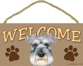 """10"""" Schnauzer Welcome Sign, Printed Paper on MDF, Twine Hanger"""