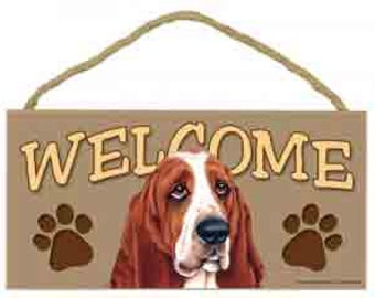 """10"""" Basset Hound Welcome Sign, Printed Paper on MDF, Twine Hanger"""