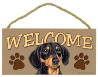 10″ Black Dachshund Welcome Sign, Printed Paper on MDF, Twine Hanger