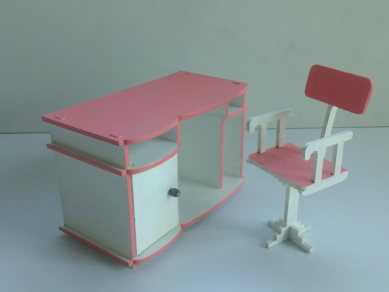 Dollhouse Furniture Table For Barbie Dolls Office Furniture Etsy