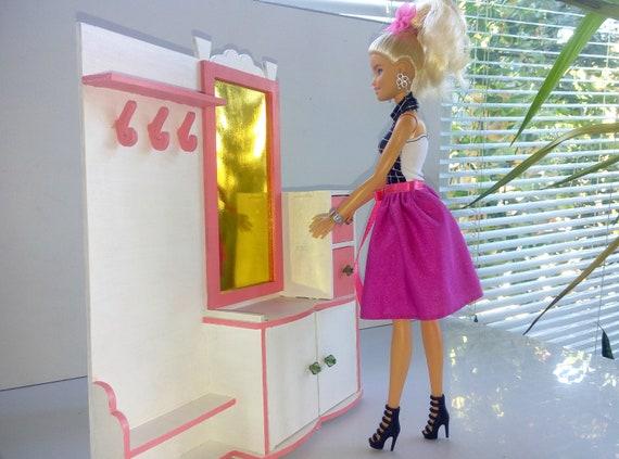 Blythe Furniture for Barbie Blythe doll furniture DIY kit Furniture for 1:6 Handmade Wooden Furniture Barbie Miniature Barbie wardrobe