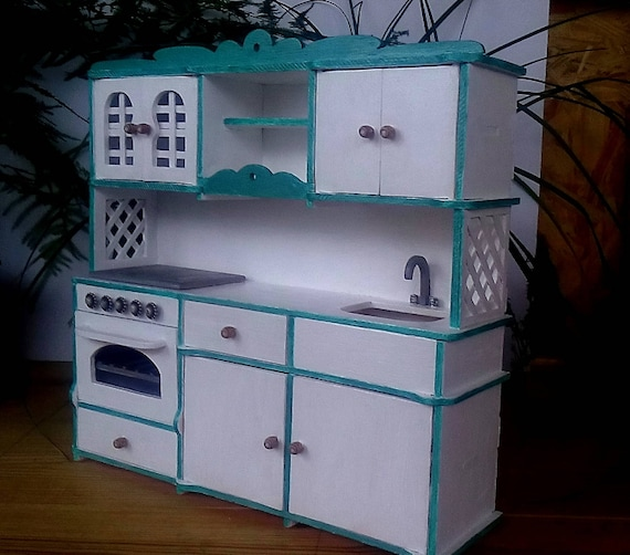 Dollhouse Furniture Kitchen Set For Barbie Barbie Furniture Etsy