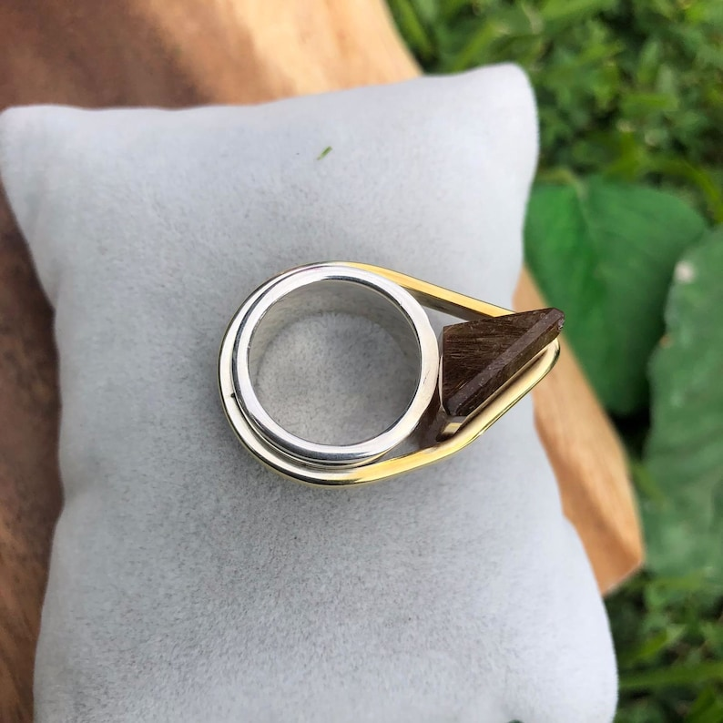Rutilated Quartz Gemstone. 18K Gold Plated For Women Ring Hand Craft Authentic Natural Stone Rutilated Quartz 925K Sterling Silver