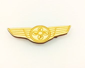 Wooden Drone Pilot Pin - Drone gifts, drone pilot, drone pin, drone badge, drones, tech gifts, tech pin
