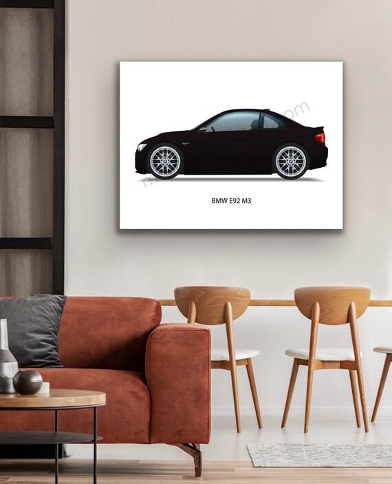 BMW E92 M3 Coupe 3 Series Ruby Black Metallic MPower 2008-2013 E90 Automobile S65 V8 SMG ZHP Car Wall Art Giclee Garage Print