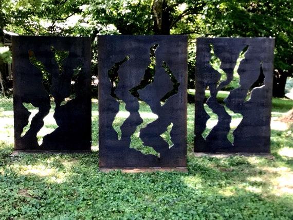 Large Outdoor Sculpture Rustic Metal Steel Rusty Yard Art Etsy