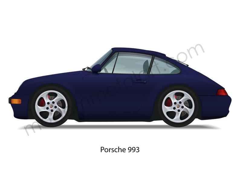 Porsche 911 993 Iris Pearl Blue 4S Carrera non-Turbo 1994-1998 Car Wall Art Caricature Cartoon Giclee Garage Shop Print