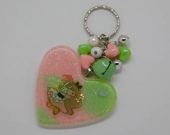 Alice in Wonderland with White Rabbit Resin Heart Key-chain/Bag-Charm
