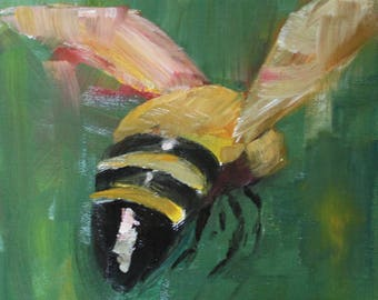 Original Oil Painting of a Honey Bee 5 x 7