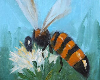 Original Oil Painting of a Honey Bee on a Chive Flower 5 x 7