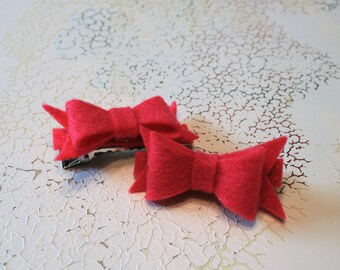Pink Hair Clips | Pigtail Hair Clips | Pink Felt Bow Set of 2 | Pink Bow Barrettes | Toddler Felt Bow Set | Toddler Gift | Pink Gift Set