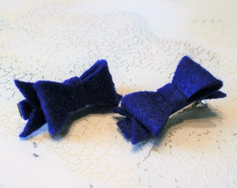 Blue Hair Clips | Pigtail Hair Clips | Blue Felt Bow Set of 2 | Blue Bow Barrettes | Toddler Felt Bow Set | Toddler Gift | Royal Blue Bow