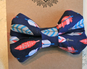 Dog Bow Tie | Dog Collar Bow | Feather Dog Bow | Large Dog Bow | Large Dog Bow Tie | Blue Dog Bow Tie | Dog Gift | Pet Gift
