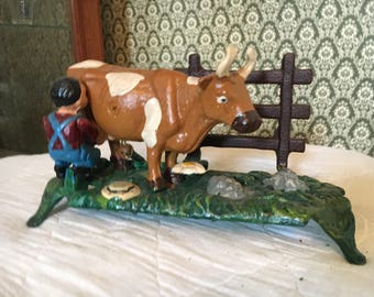 Vintage Cast Iron Milking Cow Machanical Bank