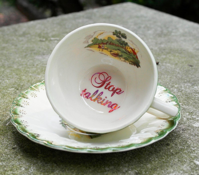 Stop Talking Pink Holographic Funny Teacup And Saucer Etsy