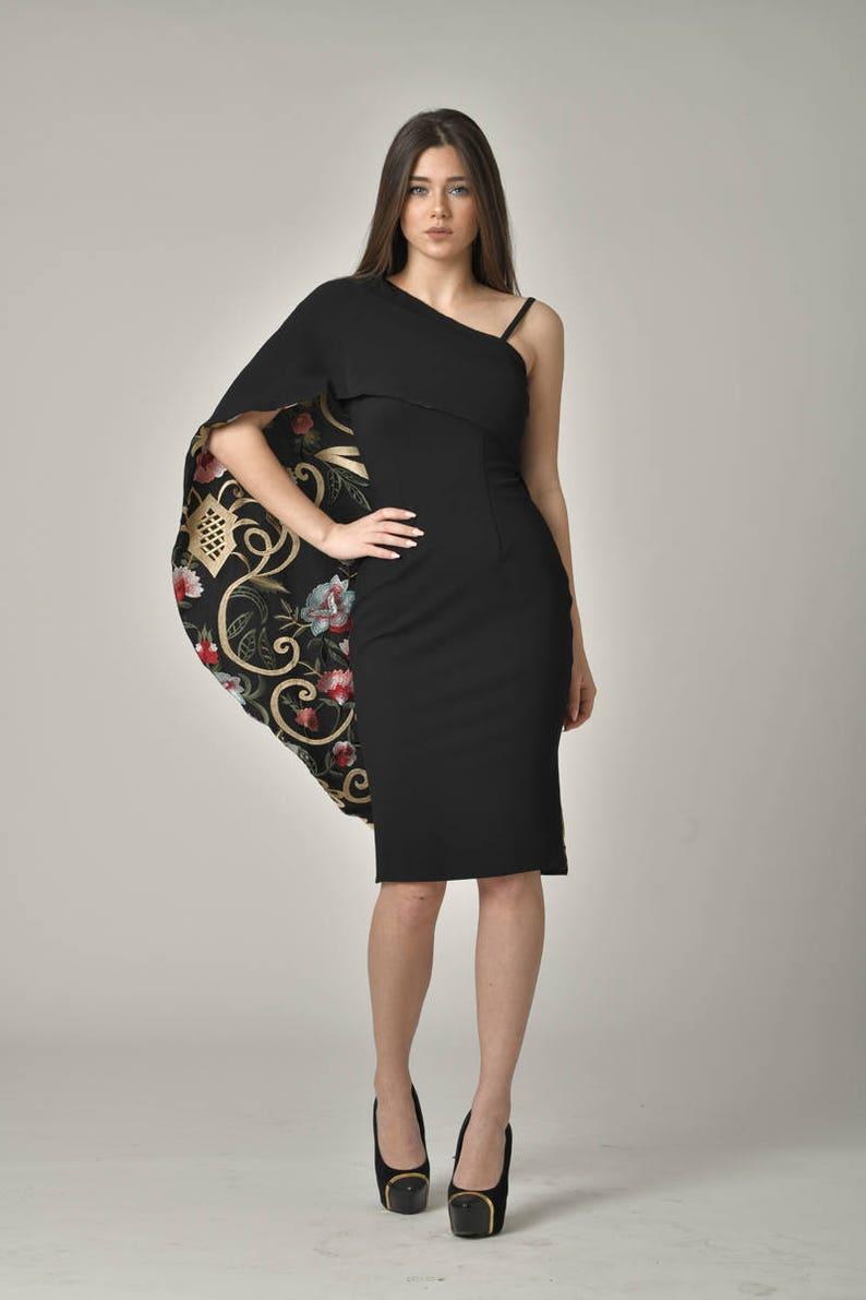 7f90ba817d PLUS SIZE Midi Designer One Shoulder Little Black Dress