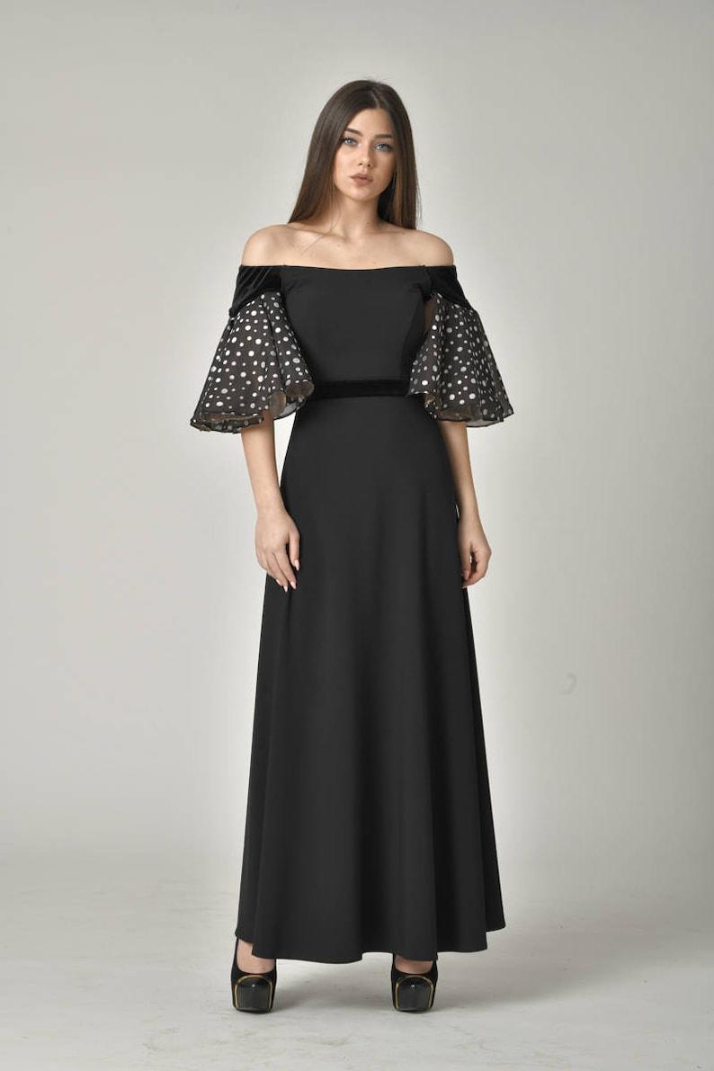 e38721622f3 Evening Vintage Style Gown  Formal Off Shoulder Dress  Ankle