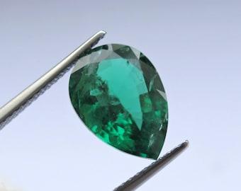 Natural Emerald, Green Emerald, Green Beryl, Loose Beryl, Genuine Emerald, Loose Zambian Emerald Pear, GIA Emerald, 3.37CT Pear Shape
