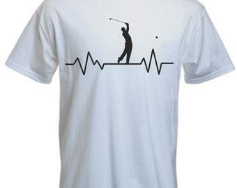 387420e70 Heartbeat Golf t-shirt, Funny Pulse Golfing Tshirt, Funny Golfer T Shirt  Novelty