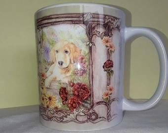 Golden Retriever In The Flower Garden Mug