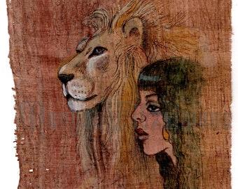 Original Art  Handmade on Papyrus  Prophetic Art  Miniature: Asenath & the Lion of Judah