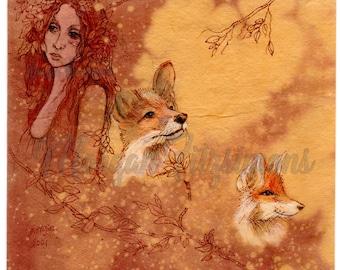 Original Art, Watercolour & Pen, Go Wild Imagine Miniature Collection: Sionach and the Little Foxes.