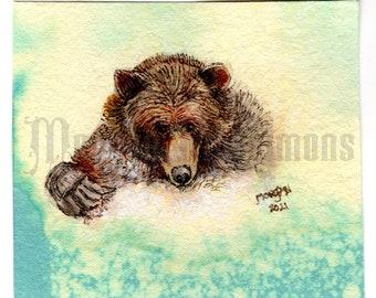 Original Art, Hand made watercolour pand gouache miniature,Go Wild Collection : Daily Splash