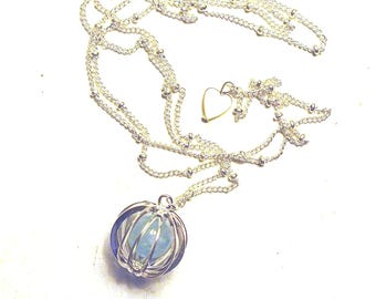 Cage necklace, aquamarine