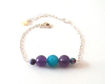 Star silver bracelet, Amethyst beads - jade - agate, mother of Pearl