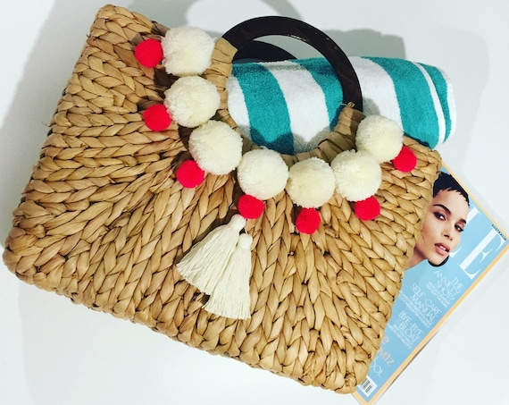 Handmade Straw Bag Customised With Organic Cotton Pom Poms and Tassels