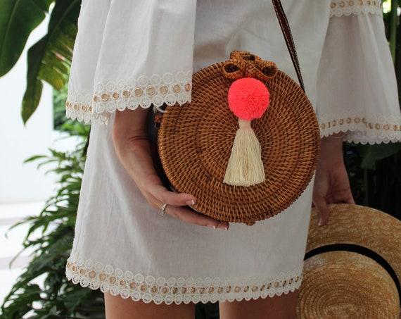 Handmade Rattan Round Bali Bag with Pom-Pom and Tassel