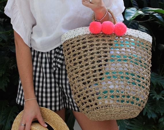 Handwoven Beach Bag With Pom Poms
