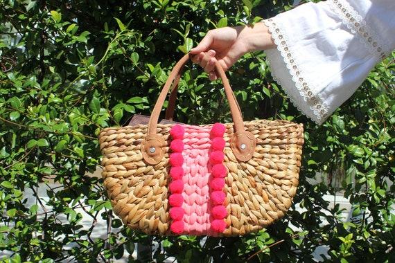 Customised Pom Pom Straw Market Beach Bag, Personalised Beach Bag, Tassels and Pom poms straw bag, Rattan Bag with Suede handles
