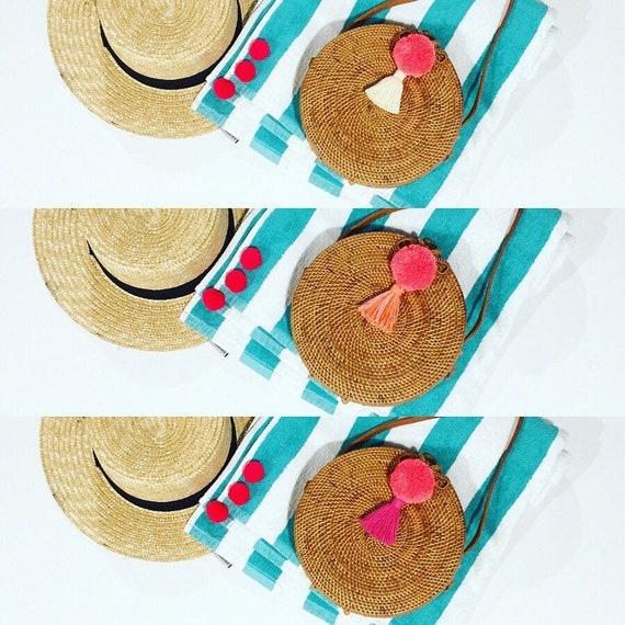 Round Bali Bag with Pom-Pom and Tassel