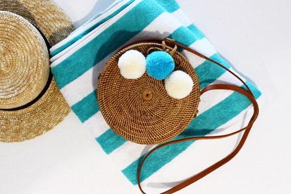 Round Bali Bag with Organic Cotton Pom-Poms