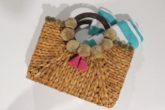 Handmade Straw Bag Customised with Organic Cotton Pom-Poms and Tassels