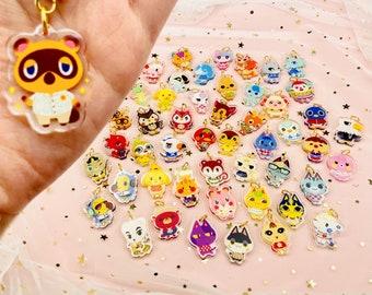 50 Animal Crossing Villagers Mini 1-Inch Acrylic Charm Keychain Phone Strap
