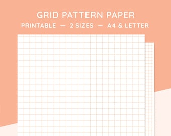 grid pattern paper printable print out digital download small grid graph paper a4 letter orange