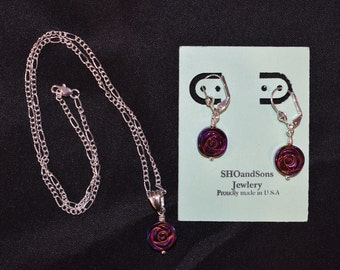 Rosette Necklace and Earring Set
