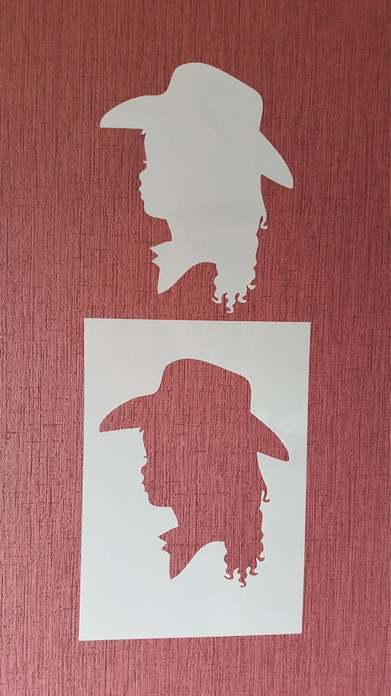Stencil girl Westernhut decal stencil canvas textile Design airbrush  vintage design frame tattoo Stamp template graffiti