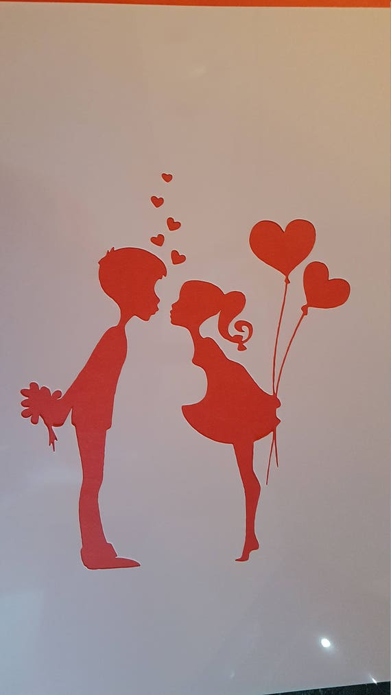 A4 Stencil for painting Cardmaking Valentine/'s Day LOVE Stencil for painting People in love Silhouettes of couples together Journal