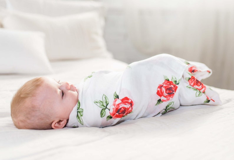 Swaddling Wrap Muslin Swaddle Blanket for Newborn Baby Girl Red Rose Large - BambooCotton 47x47 Pattern Receiving,Burp Cloth,Stroller