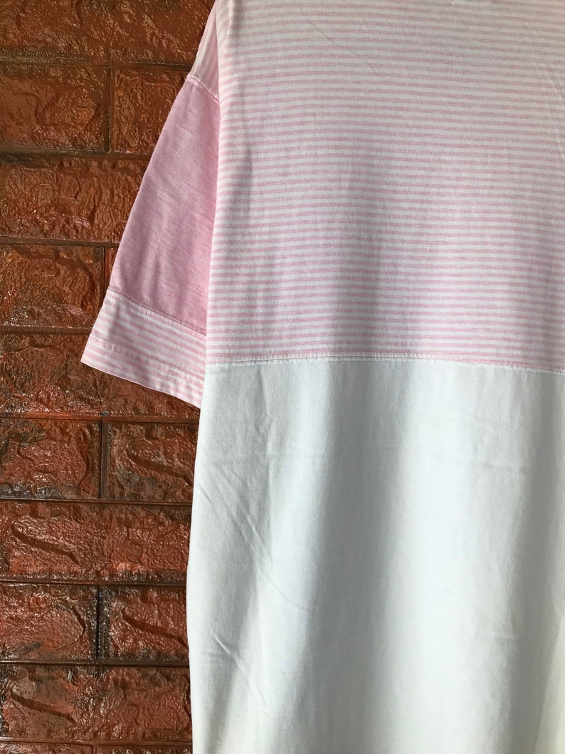 Vintage 90s Guess Jeans Striped Embroidery Logo 2 Tone T Shirt  Hip Hop 90s  Asap Rocky  90s Streetwear T Shirt Made In Usa Size XL