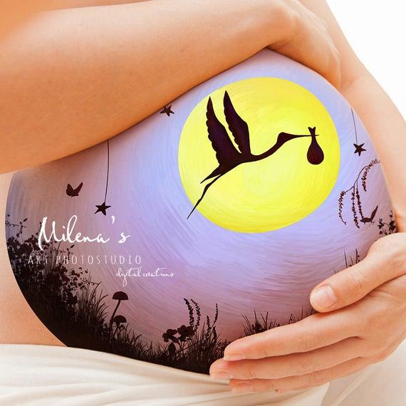 Stork Digital Body Art For Pregnant Tummy In Psd Format Etsy
